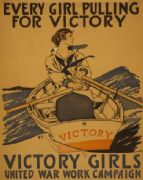 "Vintage WW1 Poster ""Every girl pulling for victory"""